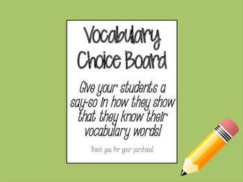 Vocabulary Choice Board and Brochure
