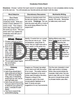Vocabulary Choice Board- creative, rigorous activities for 4th, 5th, 6th graders