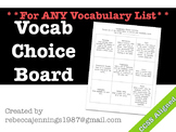 Vocabulary Choice Board for Any Vocabulary List