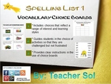 Vocabulary Choice Boards (Spelling List #1) RF 4.3