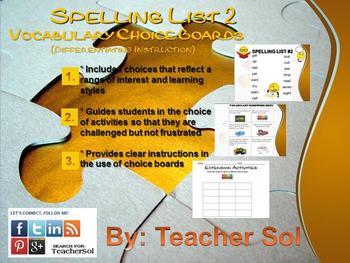 FREEBIE Vocabulary Choice Boards (Spelling List #2) RF 4.3