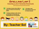 Vocabulary Choice Boards (Spelling List #3) RF 4.3
