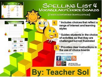 Vocabulary Choice Boards (Spelling List #4) RF 4.3