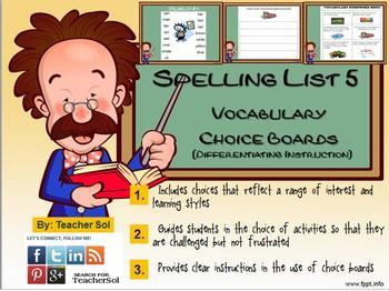 Vocabulary Choice Boards (Spelling List #5) RF 4.3