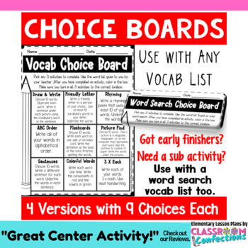 Spelling Choice Boards: Vocabulary and Spelling Activities for List of Words