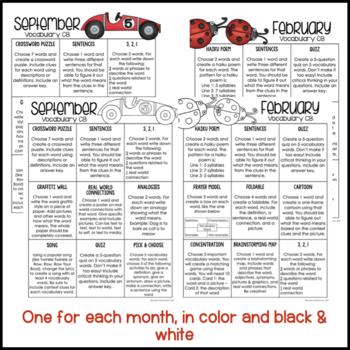 Vocabulary Choice Boards