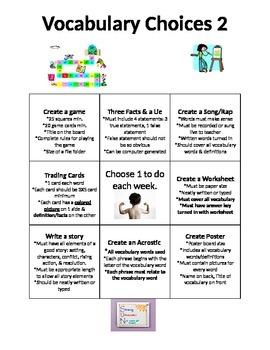 Vocabulary Choice Sheet 2
