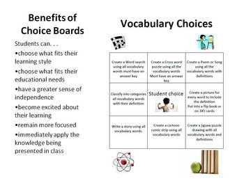 Vocabulary Choice Sheet for students HW