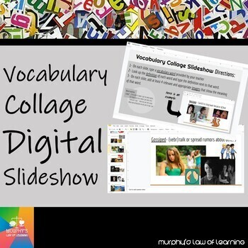 Vocabulary Collage Digital Slideshow (TEMPLATE- EDITABLE)