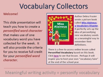 Vocabulary Collecting! 11 lessons that teach vocabulary and writing