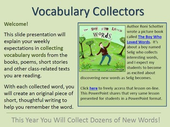 Vocabulary Collecting! 11 lessons that teach vocabulary an