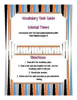 Vocabulary Colonial Times Task Cards ELA/ Dictionary Skills