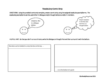 Vocabulary Comic Strip