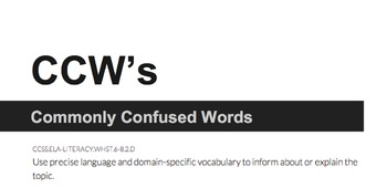 Vocabulary Commonly Confused Words (CCW's)