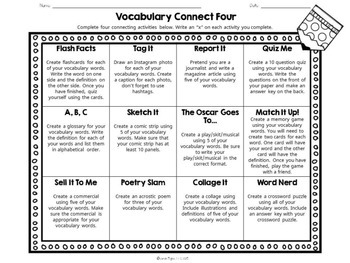 Vocabulary Connect Four