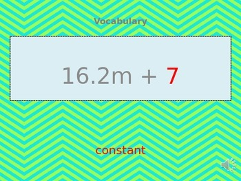 Vocabulary-Constant, Coefficient, Variable Fluency