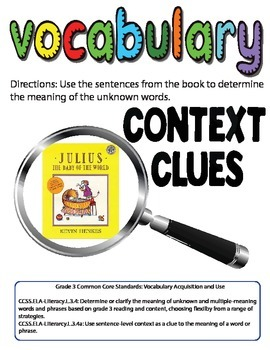 Julius, The Baby of the World Context Clues Vocabulary Activity