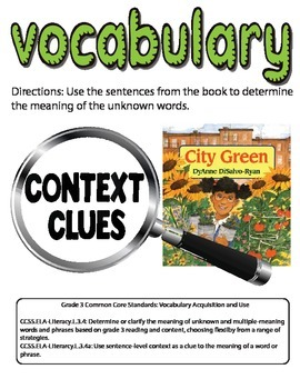 Context Clues Vocabulary Activity for the book City Green