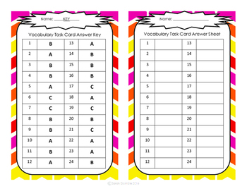 Vocabulary Context Clues Task Cards