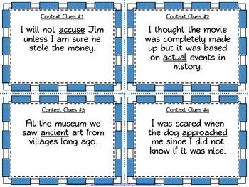 3rd Grade Context Clues Task Cards