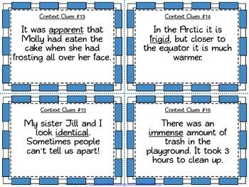 5th Grade Context Clues Task Cards