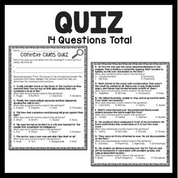 Vocabulary Context Clues Tutorial, Chart, Practice, Quiz, Middle School Test