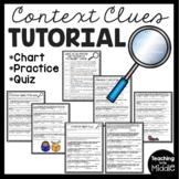 Vocabulary Context Clues Tutorial, Chart, Practice, Quiz, Middle School Test