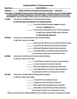 Vocabulary Contract -- middle school