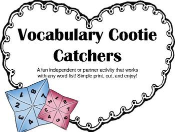Vocabulary Cootie Catcher Fortune Teller Activity