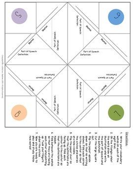 Vocabulary Cootie Catcher/Fortune Teller - FREE