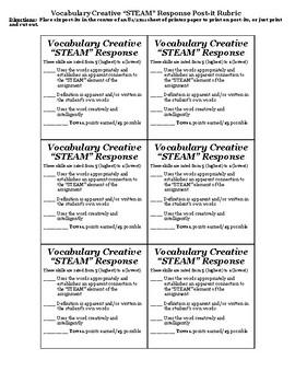 "Vocabulary Creative ""STEAM"" Responses"