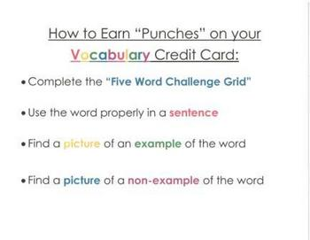 Vocabulary Credit Card