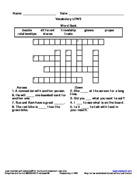 Vocabulary Crossword Puzzle: U1 W3