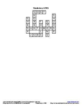 Vocabulary Crossword Puzzle: U1 W5