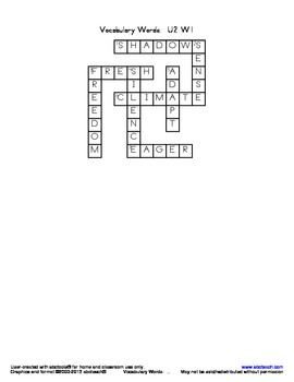 Vocabulary Crossword Puzzle: U2 W1