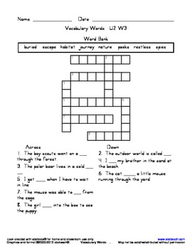 Vocabulary Crossword Puzzle: U2 W3