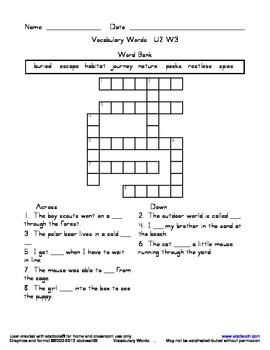 Vocabulary Crossword Puzzle: U2 W3