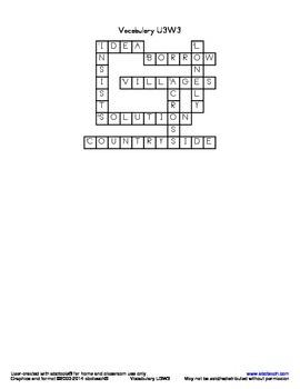 Vocabulary Crossword U3W3