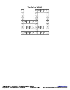 Vocabulary Crossword U3W5