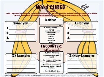Vocabulary Cubed BUNDLE #1 - 20 WORDS - Ready to go Activity