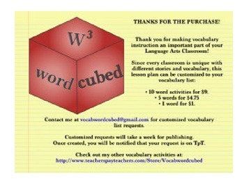 Vocabulary Cubed - SMARTBOARD Interactive and Ready to go activities!