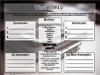 Vocabulary Cubed- List #1 - Ready to go Activity