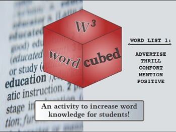 Vocabulary Cubed- List #1 - Ready to go Activity