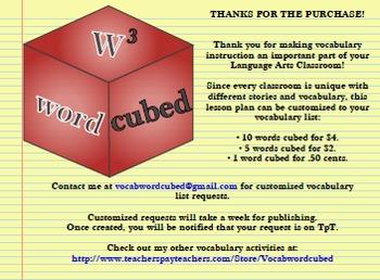 Vocabulary Cubed- List #4 - Ready to go Activity