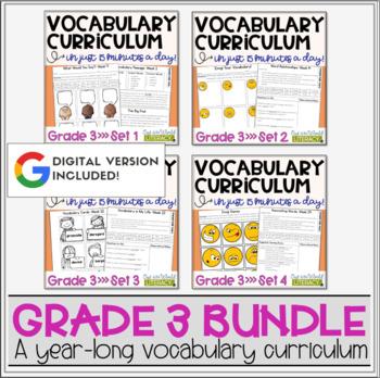 Vocabulary Curriculum Grade 3- Growing Bundle