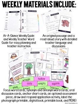 Vocabulary Curriculum Kindergarten GROWING BUNDLE