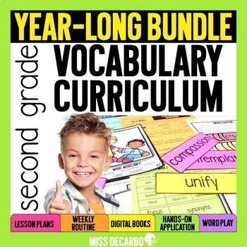 Vocabulary Curriculum Second Grade PRESALE GROWING BUNDLE
