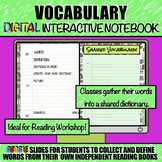 Vocabulary DIGITAL Interactive Notebook and Word Wall Bull