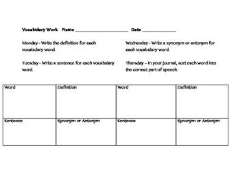 Vocabulary Daily Work