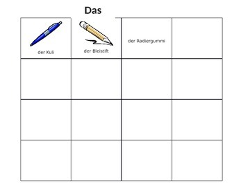 Vocabulary Das Klassenzimmer